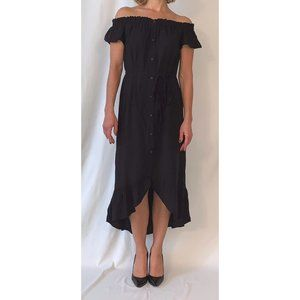 LOFT Black Off the Shoulder Midi Sun Dress XSP